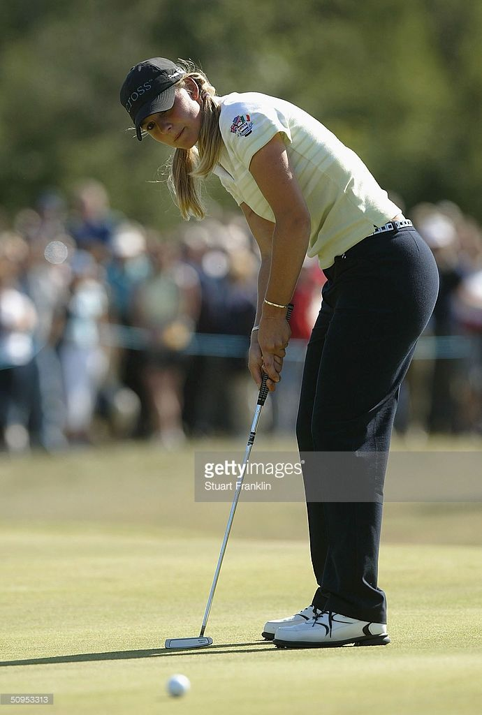 Danielle Masters of The Great Britain and Ireland team putting on the 17th hole during her singles match against Erica Blasberg of USA at the 2004 Curtis Cup Matches at Formby Golf Club on June 12, 2004 in Formby, England.