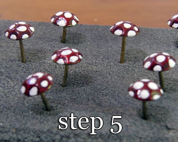 Make your own adorable fairy garden mushrooms using upholstery tacks - learn how from Shabby Beach Nest
