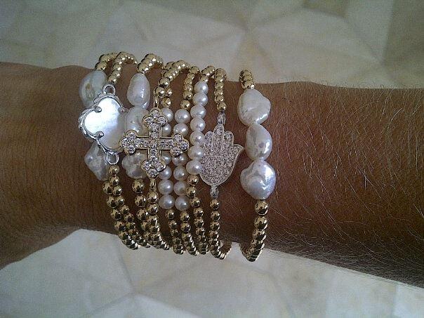 256d5d43fe8c pulseras de perlas, dijes, de plata bañada en oror | My Style ...