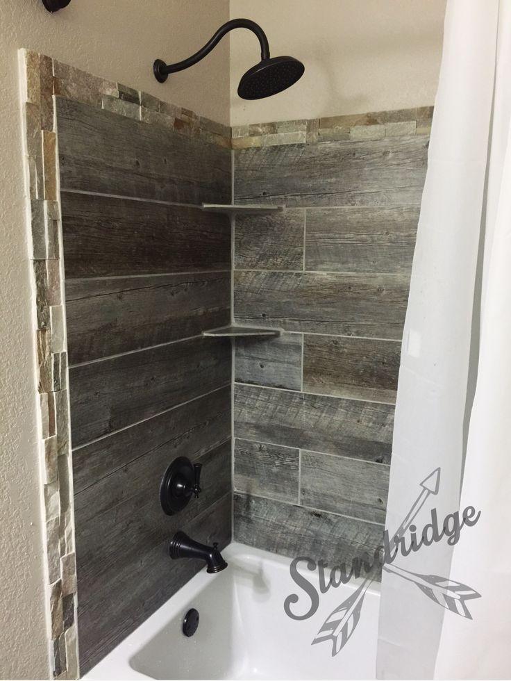 rustic bathroom - barnwood ceramic tile.