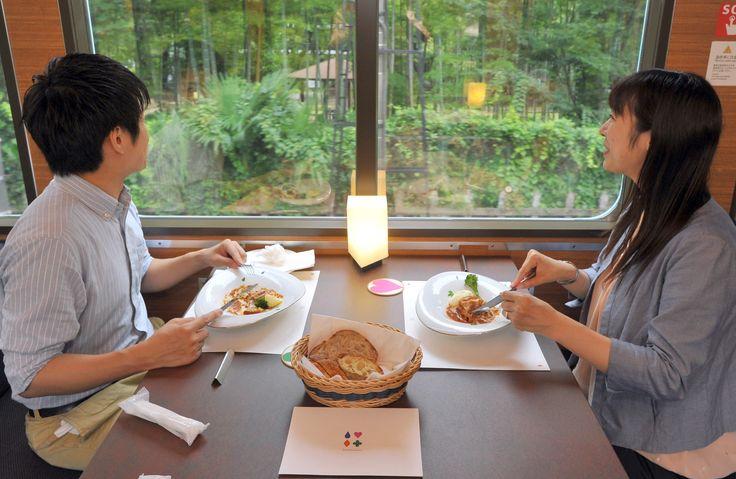 Seibu Railway Co.'s restaurant train bound for Chichibu, Saitama Prefecture…