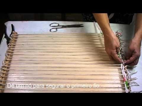 Artesanato: Tapete de tear de madeira - Craft: Mat wooden loom - Artesanía: Mat telar de madera - YouTube