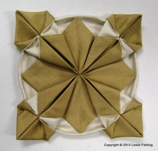 """""""Fennel"""" • Fabric Origami Step-by-Step. This would be a lovely Christmas ornament if made in the right colours."""