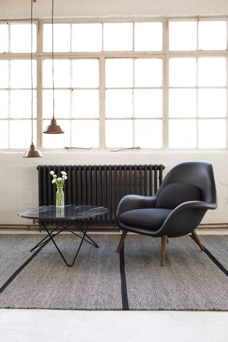 Swoon Lounge Chair by Space Copenhagen for Fredericia Furniture / O-table by Dennis Marquart for Ox Denmarq / W1 Workshop Lamp by A. Wedel-Madsen for Made By Hand / Elli Rug by Jens Landberg Schrøder for Fabula