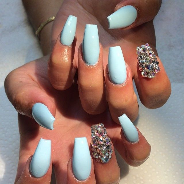 Cute blue but rhinestones are too much and nails too long