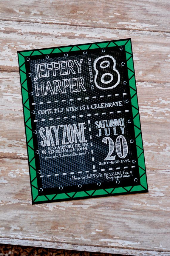 Trampoline Birthday Party Invitation All Colors and