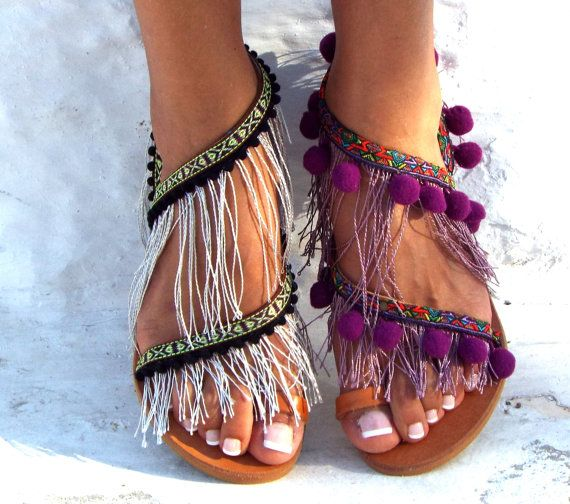 Hawai Pom Pom sandals LEATHER Sandals  Colorful  by DelosArt