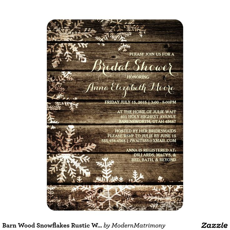 recipe themed bridal shower invitation wording%0A Barn Wood Snowflakes Rustic Winter Bridal Shower Card