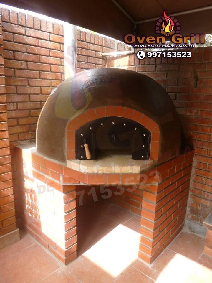 horno de barro acabado en ladrillo caravista oven grill cel
