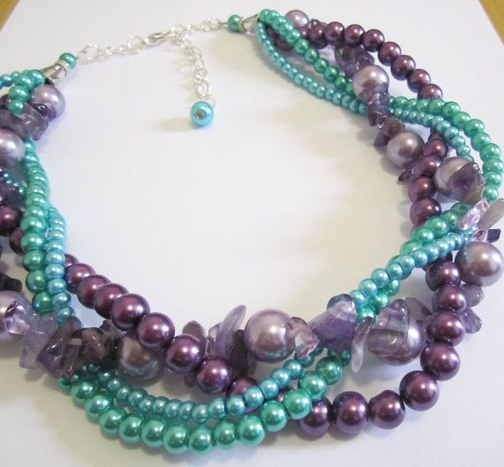Turkoois Teal groen & paarse multi strand Necklace door SLDesignsHBJ