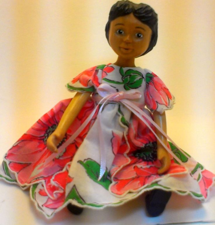 OOAK CUSTOM Hitty Doll Vintage Hanky Dress White with Peach FREE SHIPPING! #Hitty $21