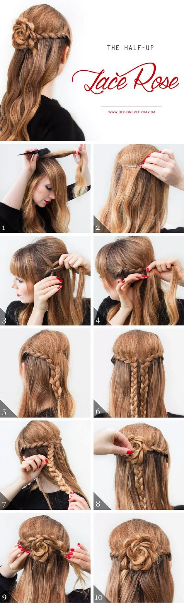 nice Easy Hairstyles Ideas The Rose braid (Video) , The rose braid looks way more complicated than it actually is. If you arelooking for some hair inspiration this hairstyle is a cool alternative to t... ,  #Braids #Bridalhaistyles #easyhairstyles #Instructionsforbraids #rosebraidinstructions #weddinghairstyles