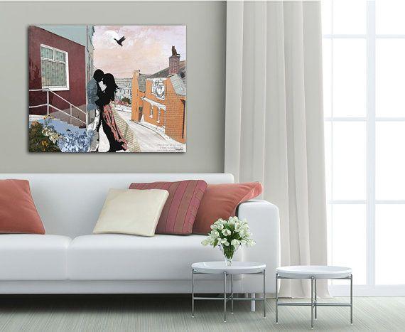 Coppia in amore, stampa arte artistica, arredamento camera da letto, grande pittura artistica su tela, arte romantica