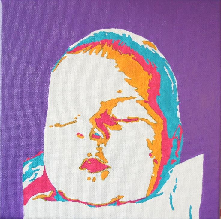 Ise (1 maand oud) geschilderd in pop-art stijl op een doek van 20 X 20 cm.