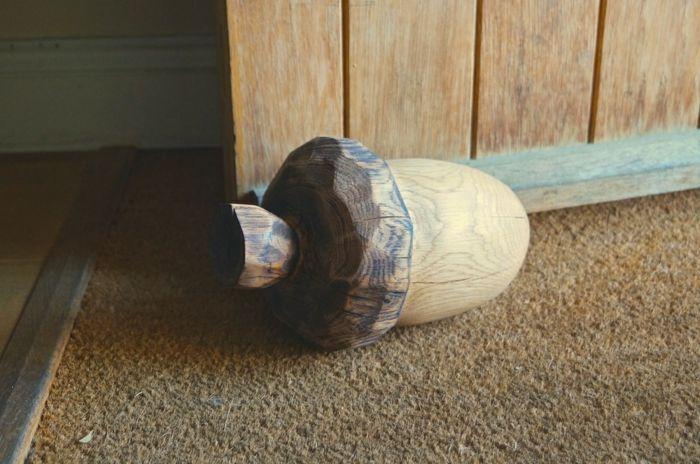 sack türstopper edelstahl eichel aus holz