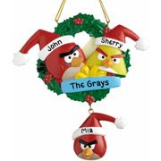 Family gift to the neighbors who are a bit annoying... maybe this year they will get the hint ....  $19.99 personalized angry birds ornament , 5