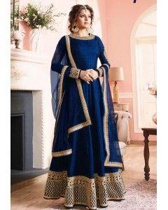 Blue Floor Length Silk Anarkali Suit