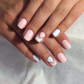 Nice, simple yet super cute, light pink and white nail design