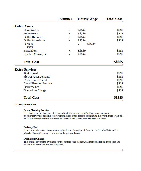 Sample Catering Quote Template Kater\u0027s Catering in 2019 Invoice