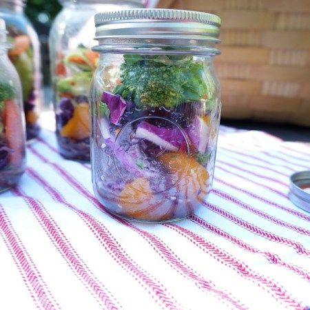 Change up the usual sandwiches in your picnic basket with an Asian Mason Jar Salad made with fresh vegetables, brown rice and a miso vinaigrette. They will surely make your picnic one to remember. Gluten Free. Vegan.