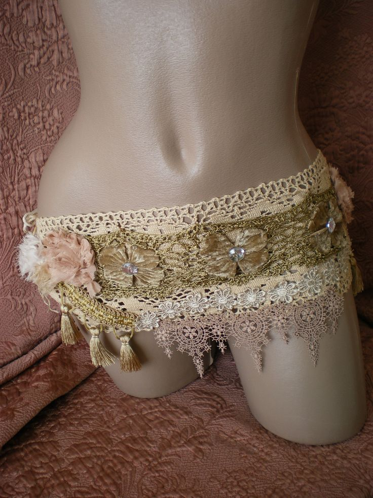 fringed HIP bag belt BAG  fannypack  buddhist MANTRA hippie accessory crochet fairy belt bag hand made. $58.00, via Etsy.