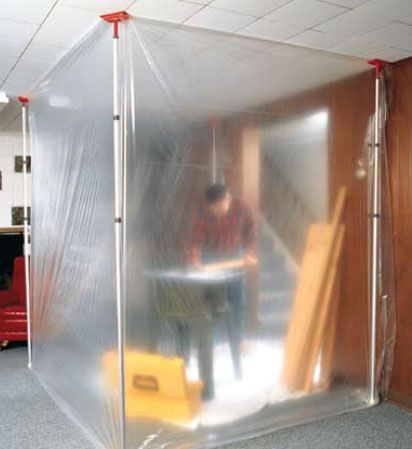 Protect Your Space from Dust and Paint--or solder/flux residue or enamel/glass powders or silica dust.