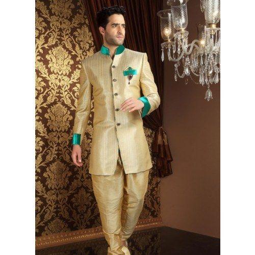 Online Shopping for Appealing Cream Banarasi Silk Sherw | Sherwani | Unique Indian Products by Eshan Traders - MESHA86464013610