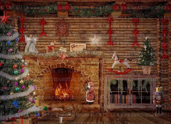 Log Cabin Christmas Fireplace Tree Photography Backdrop