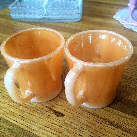 Anchor Hocking Fire King Orange Mug Set