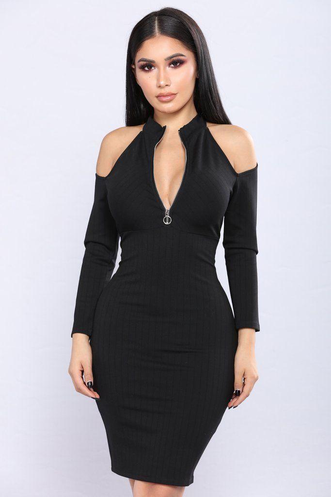 Cold Brew Cold Shoulder Dress - Black