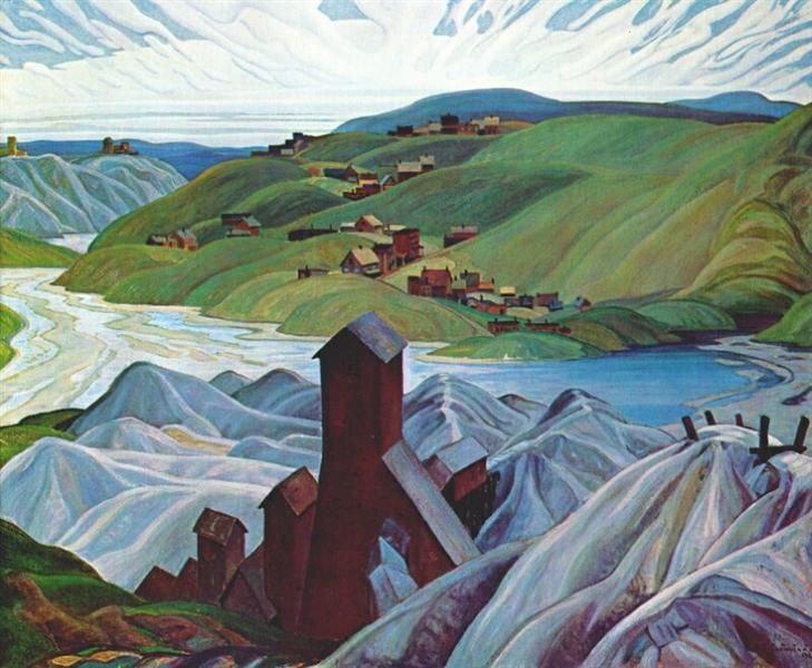 A Northern Silver Mine, 1930 by Franklin Carmichael. Art Nouveau (Modern), Symbolism. landscape