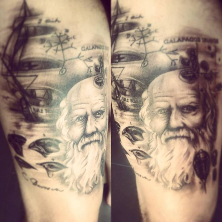 """My completed Charles Darwin tattoo. Aspects of his life, evolution and natural selection. Includes his portrait, darwin's finches, trilobite, his ship the beagle, his original sketch with the words """"I think"""", a map of the galapagos islands and his autograph!!!"""