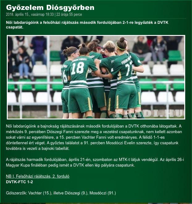 DVTK - FTC JET-SOL Liga Női NB I - Felsőház 2. forduló