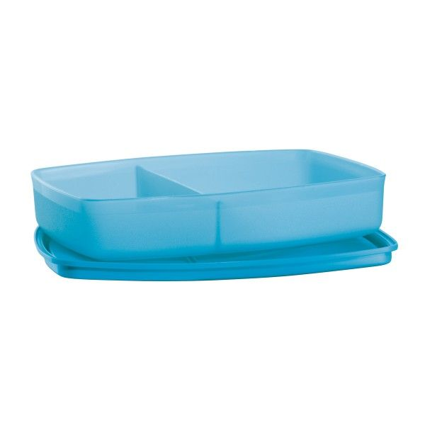 Side-by-Side Container/Azure:          Single container, two compartments!  Groove under seal keeps contents separated in their compartments.  Perfect for snacking on the go.In Azure.Dishwasher safeLifetime Limited WarrantyColors may vary and substitutions may occur.  A portion of your purchase will be donated to the Tupperware Brands Fund to support organizations like Boys & Girls Clubs of America and others.       Item:10136373000