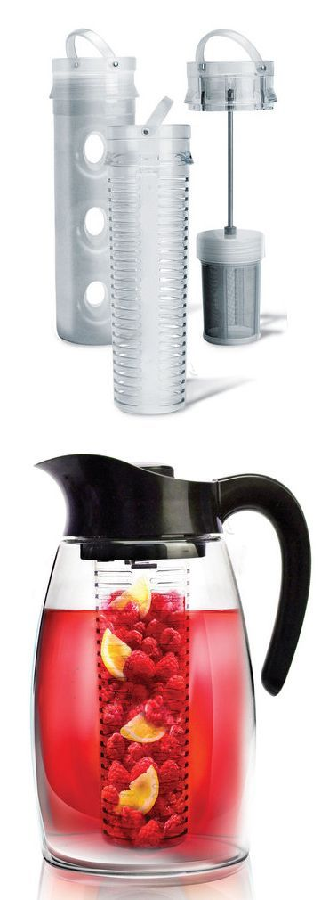Flavor Infusion Pitcher Jug // makes anything from iced tea to mojitos to regular water that's infused with lavender, fruit, or mint. The set includes a tea infuser and fruit infuser, as well as a cooling core #product_design