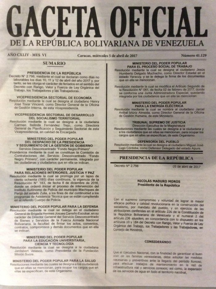 <p>El decreto de los días no laborales para Semana Santa, fue publicado en la Gaceta Oficial número 41.129,  de fecha miércoles 5 de abril. </p>