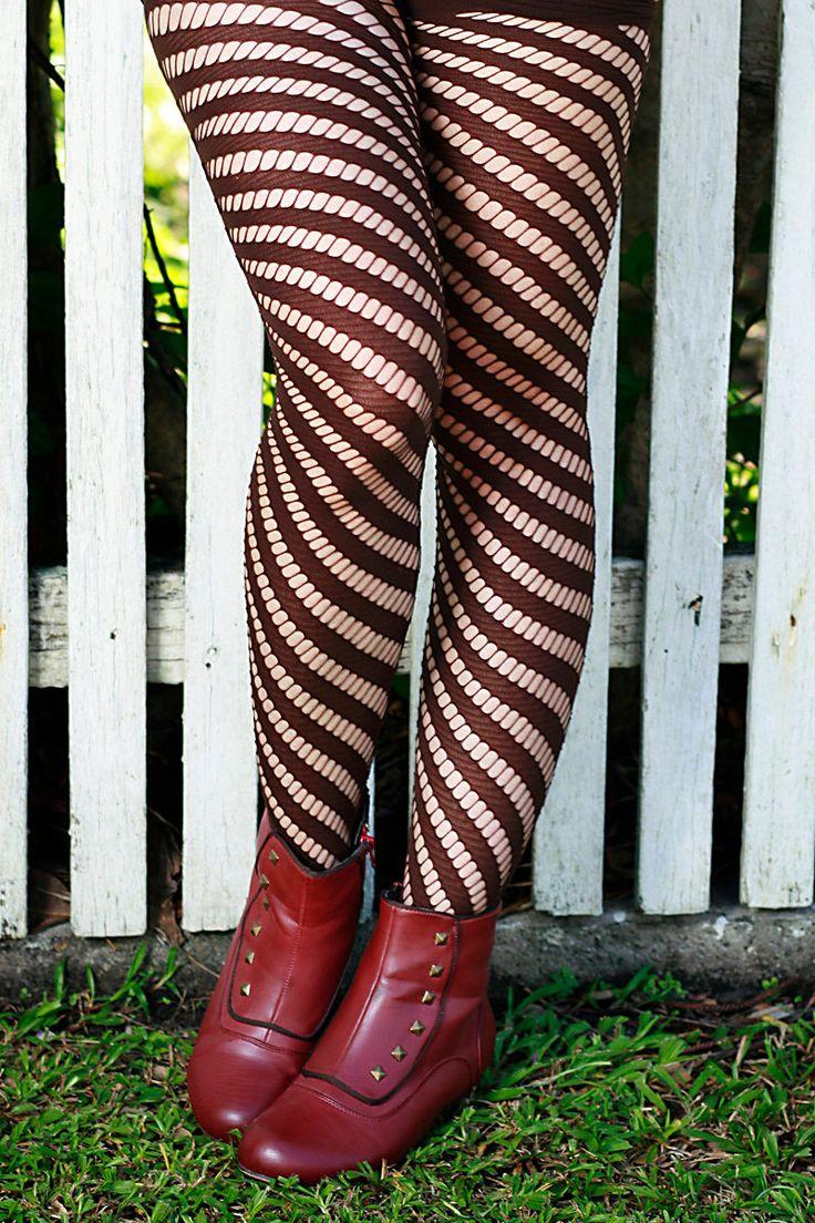 Chocolate Brown, Khaki, Tan, Black, White, Red, White Hand Dyed Diagonal Striped Nylon Stockings Tights by frockfashion on Etsy