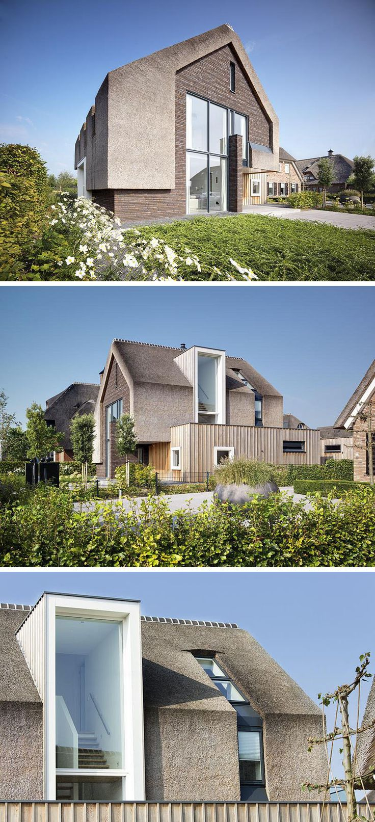 12 Examples Of Modern Houses And Buildings That Have A Thatched Roof // Traditional materials like brick, wood, and thatch used for the exterior, mix the old with the new on this modern family home.