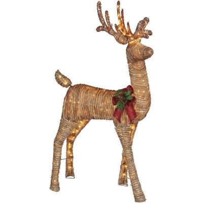 Home Accents Holiday 5 Ft Pre Lit Grapevine Animated Standing Deer Ty454 1511 0 The Home