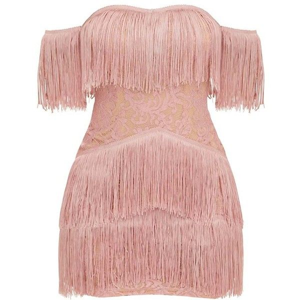 Dusty Pink Bardot Tassel Lace Bodycon Dress ( 60) ❤ liked on Polyvore  featuring dresses 53f1ebb571