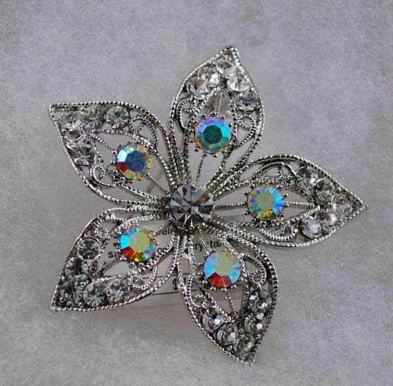 Cubic Flower Austrian Crystal Brooch by XYSAccessories on Etsy, $34.95