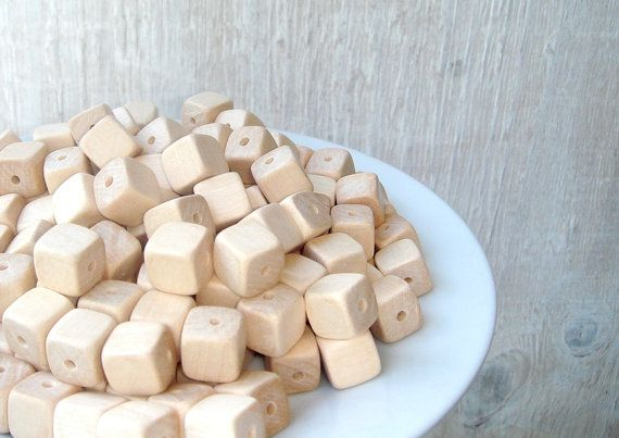 10 mm 50 pcs wooden beads  cube  natural by MiracleFromThreads, $5.20