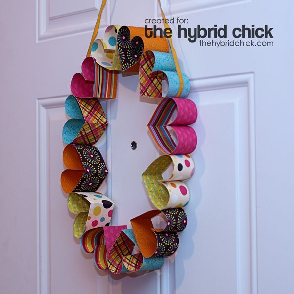 Cute paper heart wreath made from double-sided scrapbook paper.