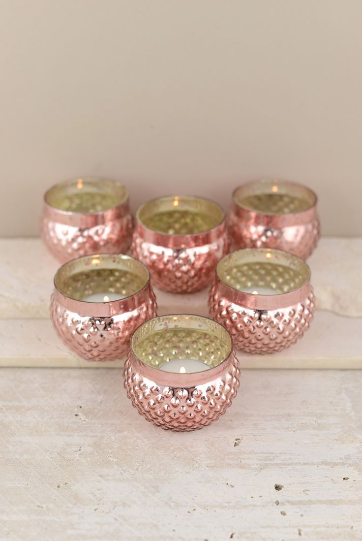 Set Of 12 Mercury Glass Votive Holders In Gold Rose