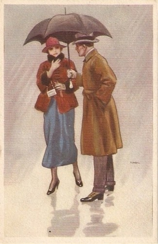 METLICOVITZ - ART DECO POSTCARD 1920s - COUPLE & UMBRELLA