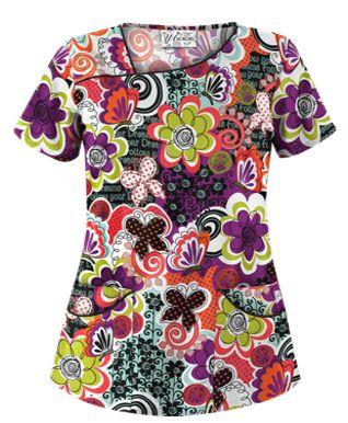 UA Peace And Prosperity Berry Burst Asymmetrical Scrub Top Style # UA658PRS #uniformadvantage #uascrubs #adayinscrubs #scrubs #printscrubs #scrubtop