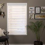 Trendy dual sheer shades allow you to softly filter in light or darken the room via alternating sheer & light-blocking fabrics. Get them for less at justblinds!
