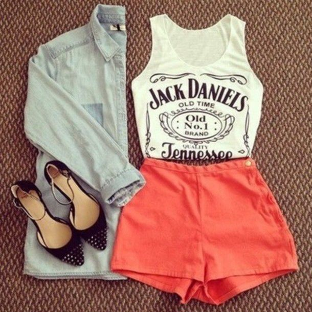Tank Top Fashion Clothes Look Cute Beautiful Summer Shorts Shoes Shirt Black And White