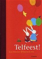 Telfeest, Jaak Dreesen. Een klein konijn telt altijd. Hij telt stoeptegels, sokken, eekhoorns, mussen. En als hij jarig is, telt hij uitnodigingen, wafels en ballonnen. Een uitnodigend prentenboek voor wie van tellen en van feestjes houdt. Dit boek is een kerntitel van de kinderboekenweek voor groep 1 & 2. € 14,95