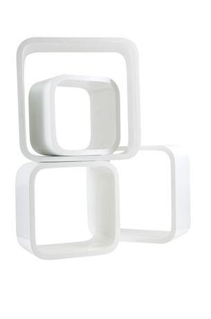 Sebra Bokhylle Firkantet Hvit 4-pack | Barnerommet På veggen | Jollyroom - fri frakt